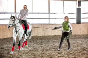 Обучение туристов сидеть в седле на лошади на территории манежа в конном клубе Каньон