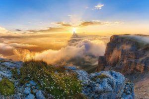 Облака сквозь солнце на Плато Канжол
